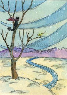 Original ACEO Painting -- Winterland