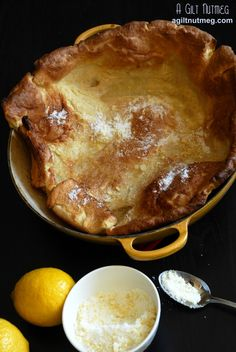 Seriously, my new favorite breakfast/brunch item.  It's a cross between a pancake and a popover and is ridiculously easy to make!  Lemon Sugar Dutch Baby