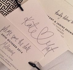 Kate Twigley hand lettered save the dates | Peace Love Letterpress