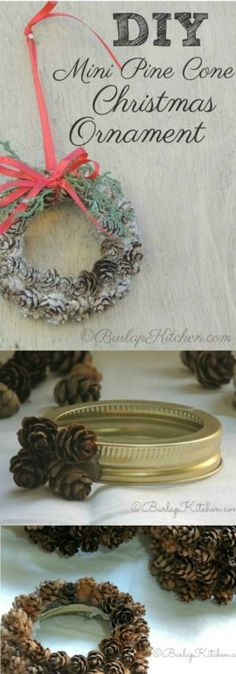 DIY Mini Pine Cone Ornaments are a cute and inexpensive way to spruce up your home for the holidays. I gathered all my pine cones at a local park and I had plenty of mason jar rims laying around. These also make great gifts!