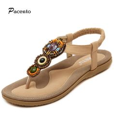 Find More Women's Sandals Information about 2016 Pacento Woman Summer Sandals Ladies Summer Bohemia Beach Women string beads Shoes Sandles Femmes Mujer Sandalias Plus Size,High Quality shoes feather,China shoes pvc Suppliers, Cheap shoes athletic from pacento company store on Aliexpress.com