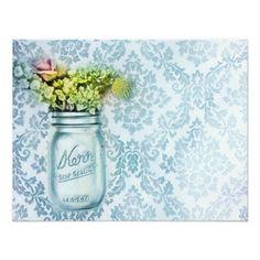 damask mason jar floral vintage birthday party custom invitations