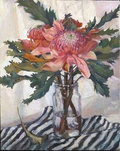 Pink Waratahs by Myriam Kin-Yee Australian Native Flowers, Australian Artists, Abstract Flowers, Watercolor Flowers, Protea Art, Guache, Still Life Art, Arte Floral, Botanical Art
