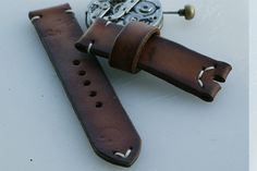 24mm natural hand made leather strap…