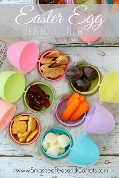 Learn how to make healthy Easter bento lunches using plastic easter eggs and empty egg cartons.