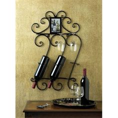 Wine Holder Hanging Wrought Iron Scrollwork Bottle and Glass Wall Rack Display - Wine Rack - Ideas of Wine Rack - Wine Holder Hanging Wrought Iron Scrollwork Bottle and Glass Wall Rack Display Price : Wine Bottle Holder Wall, Bottle Wall, Wine Rack Wall, Wine Wall, Wall Racks, Glass Holders, Glass Rack, Bottle Opener, Wine Holders