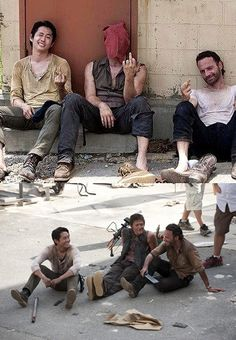 "Steven Yeun, Norman Reedus and Andrew Lincoln(The Walking Dead)  [This is what happens after the director says ""cut""!]"