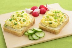 Open face egg salad sandwich with radish and cucumber slices - stock photo Kid Sandwiches, Egg Salad Sandwiches, Sandwich Recipes For Kids, Slice Of Bread, Minion, Avocado Toast, Kids Meals, Peanut Butter, Minions