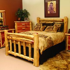 red cedar log bed