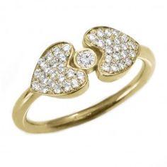 Hearts Shield delicate diamond ring , yellow gold diamond ring, unique diamond ring