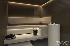 The sauna interior, its design and style should always be consired as one, and not as separate elements. It is never only about the lightning, wall panels or benches. Sauna Design, Contemporary Bathroom Designs, Saunas, Lighting Solutions, Bathroom Lighting, Glass, Wall, Spa, Benches