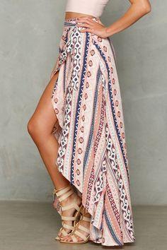 Women's Split Stripe Floral Print Chiffon Summer Beach Skirt Cover Up – Floessence