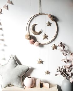 Gold and Warm Peaches Moon and Stars Large Mobile, ideal for a nursery or child's room Pom Pom Crafts, Felt Crafts, Diy Crafts, Moon Crafts, Star Mobile, Moon Nursery, Star Nursery, Nursery Art, Ramadan Decorations
