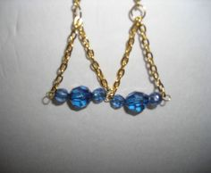 Handmade Drop Dangle Hook Earrings with Gold Chain and Blue Beads/lightweight #Handmade #DropDangle$7.00