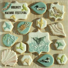 Orkney Nature Festival royal icing decorated cookies platter gift set with handpainted birds, seals, lustre dusted shells, crab and whale fluke