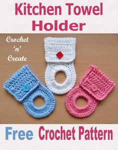 Kitchen Towel Holder Free Crochet Pattern Free crochet pattern for kitchen towel holder, solves the problem of untidy dish towels around your Crochet Towel Holders, Crochet Dish Towels, Crochet Towel Topper, Crochet Kitchen Towels, Crochet Dishcloths, Kitchen Towels Crafts, Dish Towel Crafts, Diy Kitchen, Crochet Home