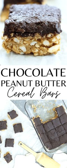 BEST EVER! Chocolate Peanut Butter Cereal Bars. These are healthy and delicious and really simple, easy, and quick. Kids love this recipe!