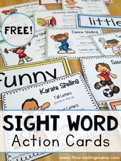 Are you looking for a fun, multi-sensory way to work on sight words? These FREE sight word action cards will do the trick! Not only do these action cards get kids using their bodies to spell words, th Teaching Sight Words, Sight Word Practice, Sight Word Games, Sight Word Activities, Reading Activities, Guided Reading, Teaching Reading, Close Reading, Learning