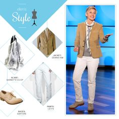 Ellen's Look of the Day: grey sweater, tan blazer, paisley scarf, white jeans and Sartore shoes