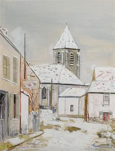 Artwork by Maurice Utrillo, Eglise De Villiens-Sur-Morin, Made of Gouache on paper mounted on card