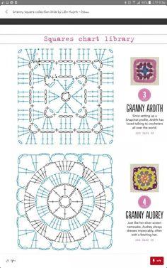코바늘뜨기 네모난 모티브 도안 : 네이버 블로그 Crochet Motif Patterns, Granny Square Crochet Pattern, Crochet Squares, Grannies Crochet, Knit Crochet, Motifs Granny Square, Granny Squares, Crochet Fashion, Diy And Crafts