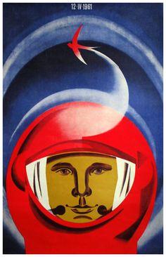 International Cosmonautics Day * April 12, 1961 (USSR) ( Soviet / Cosmonaut / Poster / Retro Futureism / Vintage Illustration )