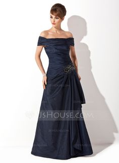Mother of the Bride Dresses - $129.99 - A-Line/Princess Off-the-Shoulder Sweep Train Taffeta Mother of the Bride Dress With Ruffle Appliques Sequins (008021110) http://jjshouse.com/A-Line-Princess-Off-The-Shoulder-Sweep-Train-Taffeta-Mother-Of-The-Bride-Dress-With-Ruffle-Appliques-Sequins-008021110-g21110