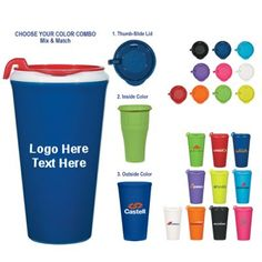 """Custom Printed 16 Oz Infinity Mix and Match Tumblers: Available Colors: Neon Blue, Neon Lime Green, Neon Orange, Neon Pink, Neon Purple, Neon Yellow, White, Metallic Black, Metallic Blue, Metallic Red. Product Size: 7"""" H. Imprint Area: 4 ½"""" W x 3"""" H. Carton Weight: 15 lbs. Packaging: 48 pcs. Material: BPA Free. Made In: USA. #customtumbler #promotionalproduct #usamade"""