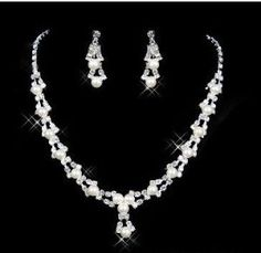 necklace + earrings)   Weighing about: 46g  Earring length: 3cm  Length: 35cm + 10cm (adjustable chain)    Type: Wholesale fashion bridal jewelry sets  Material : High Quality Austrian Crystal Rhinestone, 100% Nickel -Free Silver Plated Metal  Fantastic hair accessories for Weddings, Proms, Parties or other special occasions  SHIPPING:China airmail,take up 14-22 days