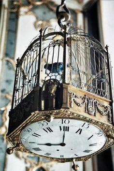 Vogelkäfig-Deko Idee Vogelkäfig Steampunk Sepia Uhr Shabby Chic verzierter…