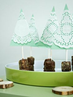 Marshmallow Tree Pops>>  http://www.hgtv.com/handmade/holiday-entertaining-marshmallow-tree-pops/index.html?soc=pinterest
