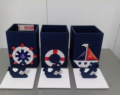 Kit Higiene - 3 Potes Mdf Router Projects, Kit Bebe, Nautical Theme, Decoupage, Baby Room, Toy Chest, Party Themes, Diy And Crafts, Baby Shower