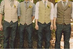 Wedding trends for grooms - more casual attire, and individual styling in the same style or color palette.