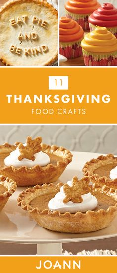 Featuring seasonal flavors, this collection of 11 Thanksgiving Food Crafts from JOANN is here to help you bring a creative spin to your holiday desserts! Click for recipes for pies, loaves, cookies, and more. Thanksgiving Food Crafts, Holiday Desserts, Craft Stores, Spin, Craft Projects, Appetizers, Cooking Recipes, Holidays, Cookies
