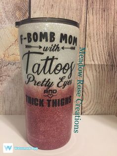 F-Bomb Mom Tumbler by on Etsy halloween nails, giraffe halloween costume, burglar halloween costume Diy Tumblers, Custom Tumblers, Personalized Tumblers, Mom Tumbler, Tumbler Quotes, Tumblr Cup, Yeti Cup, Custom Cups, Glitter Cups