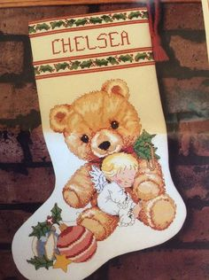 Holly Angel Friend Christmas Stocking Kit Cross Stitch Morehead Vtg 1991 Bear  #Sunset #Stocking