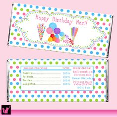 Candy Bar Wrapper Printable Personalized Sweetshop Label Stickers - Birthday Party Baby Shower Polka Dots Boy Girl Unisex Candyland Wraps