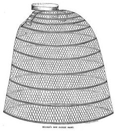 """Godey's Lady's Book and Magazine in 1859 provided a picture of """"The Woven Extension Skirt"""" saying that it was impossible to rip or tear the tapes """"as they were wove in the springs.""""  Also in 1859, J. Holmes & Co."""