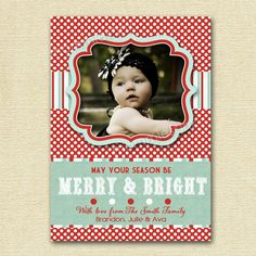 Vintage Peppermint Frost Polka Dots and Stripes Photo Christmas Card - PRINTABLE CARD DESIGN. $12.50, via Etsy.