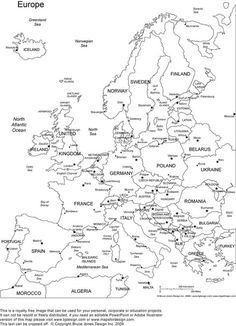 Europe Printable Blank Map Royalty Free, jpg (as well as other continents) for coloring pages: