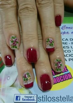 Uñas Xmas Nails, Opi Nails, Holiday Nails, Christmas Nails, Polka Dot Nails, Diy Nail Designs, Christmas Nail Designs, Fall Nail Art, Flower Nails