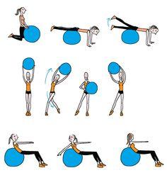 exercices avec ballon de gym sport forme physique pinterest gym ballon et exercices. Black Bedroom Furniture Sets. Home Design Ideas