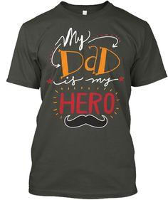Daddy Hero!  Smoke Gray T-Shirt Front