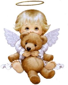 baby angel with bear Image Jesus, Angel Bear, Angel Images, I Believe In Angels, My Guardian Angel, Angels Among Us, Christmas Angels, Precious Moments, Baby Cards