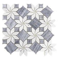 Blossom Waterjet Badiglio Gray & Carrara White Polished Marble