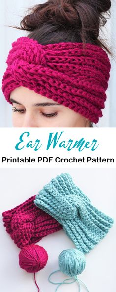 Make a Cozy Ear Warmer - Crochet Crochet Headband Free, Crochet Beanie, Crochet Yarn, Easy Crochet, Free Crochet, Crocheted Hats, Crochet Cardigan, Crochet Ear Warmer Pattern, Crochet Mug Cozy