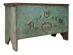 """New England 19th century painted blanket chest, 23-1/2"""" H x 36"""" W x 16-1/2"""" D."""