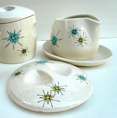 Pottery we had while I was growing up.  Starburst Franciscan by Gladding McBean & Co. USA