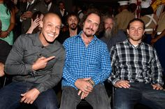 (L-R front) Actors Theo Rossi, Kim Coates and Charlie Hunnam, (L-R back) Actors Niko Nicotera and Mark Boone Junior attend Cast of FX's 'Sons of Anarchy' Host 'Boot Bash' benefiting The Boot Campaign at The Bunker Lofts on August 2, 2014 in Los Angeles, California.