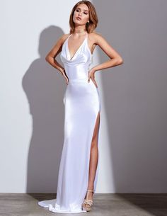 Evening Gowns Formal Dresses for Women Beautiful Gowns – dearmshe Satin Dresses, Sexy Dresses, Dress Outfits, Fashion Dresses, Prom Dresses, Oscar Dresses, Formal Dresses For Women, Elegant Dresses, Pretty Dresses